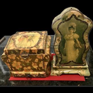 Vintage Victorian Collar and Cuffs Box plus Bonus Box