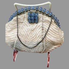 Vintage Beaded Purse With Jeweled Frame...For the Bride