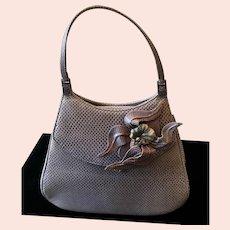 Vintage Leiber Ombré Karung Lizard Handbag/Purse with Gorgeous Floral Enameled Ornamentation
