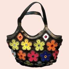 Vintage Braccialini  Handbag with Groovy  Floral Adornments