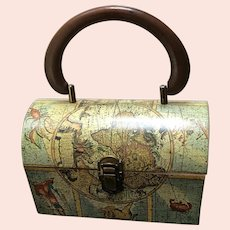Vintage Lady London Lunchbox Bag with Medieval Map