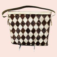 Vintage Alligator and Leather Patchwork Handbag/Purse- Harlequin Pattern