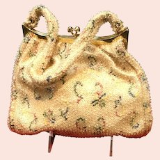 Vintage Corde-Bead Handbag/ Purse with Embroidery and Tiny Clear Beads