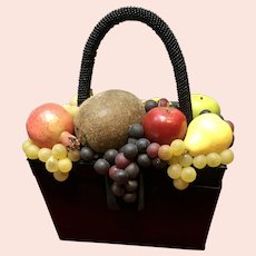 Vintage Moo Roo Purse with Artificial Fruit and Beaded Handle