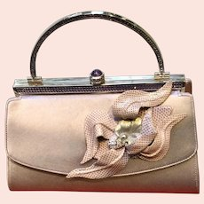 Vintage Leiber Lavender Evening Purse with Swarovski Crystals and Skinned Accents