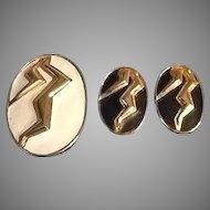 VIntage Leiber Demi Parure: Fur Clip (Brooch) and Earrings