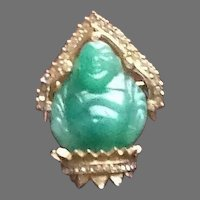 VIntage Carnegie Jade Colored Glass Buddha Brooch
