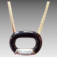 VIntage Lanvin Modernist Enameled Necklace with Swarovski Crystals