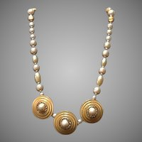 Vintage Haskell Faux Pearl Necklace with Medallions