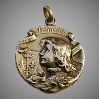 Antique Art Nouveau French Silver Pendant Joan of Arc by Henri Becker