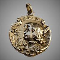 Antique Art Nouveau French Silver Pendant Joan of Arc by Henri Becker