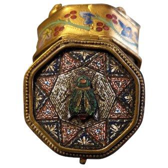 Antique Micro Mosaic Roman Jewelry Box Insect Pattern
