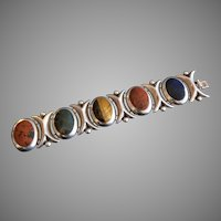 Vintage Mexican Taxco Silver Agate Stone Bracelet