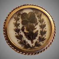Antique French Victorian Gold Filled Hair Work Brooch Pansy