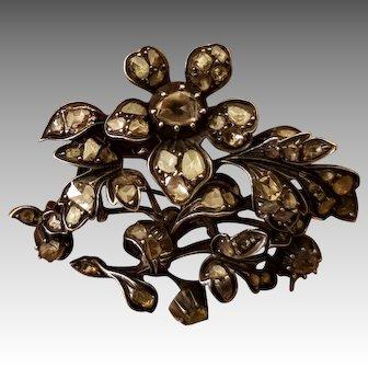 Georgian 18th C. Diamond Silver & Gold Brooch French