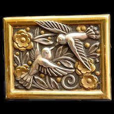 Art Deco Vintage Bird & Flower Brooch Silver tone & Gold Tone French Pin