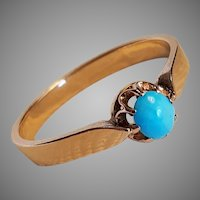 Antique French Edwardian 18k Gold Solitaire Turquoise Ring