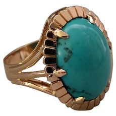 French Vintage 1950' 18k Rose Gold Turquoise Ring