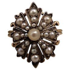Early Victorian 18k Gold & Silver Natural Pearl Ring