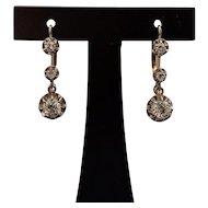 French Art Deco 18k Gold & platinum Diamond Earrings Dormeuse Leverback Vintage 1 ct