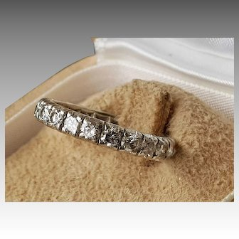 Estate French Platinum Diamond Wedding Ring / Eternity Band