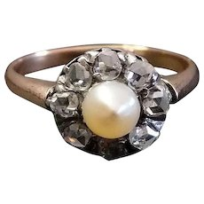Victorian Diamond Natural Pearl 18k Gold & Silver Cluster Ring