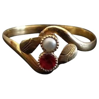 Antique 1900 18k Gold Ring Natural Pearl & Ruby