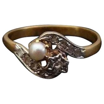 Antique Toi et Moi 18k Gold Ring French Diamond & Natural Pearl