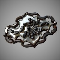 Antique Cut Steel and Mother of Pearl Brooch