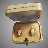 Antique Victorian French 18k Gold Shell Cameo Earrings