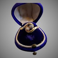 Antique French Edwardian 18k Gold Diamond Natural Pearl Ring