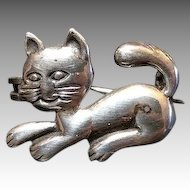 Vintage French Silver Cat Brooch Pin