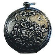 Antique French Silver Locket Pendant Flower Basket