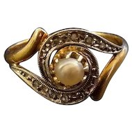Antique Swirl 18k Gold Ring Rose Diamond & Natural Pearl French