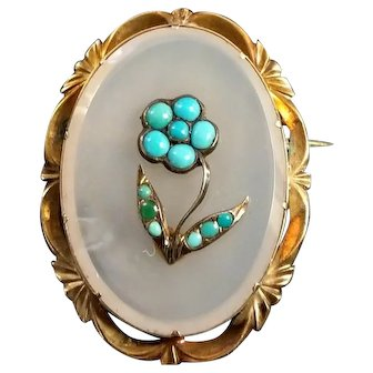Antique 14k Gold White Agate Turquoise Brooch Victorian