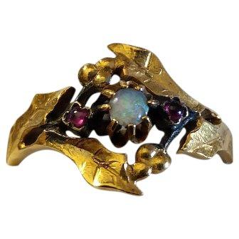 Antique Art Nouveau 18k Gold Ring Opal & Ruby