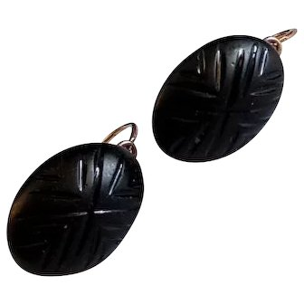 Antique Mourning French 18k Gold Dormeuse Earrings