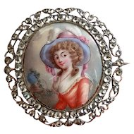 Georgian Enamel Lady Portrait Silver Brooch with Jargoon or Rock Crystal