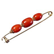 18k Gold Coral Beads Brooch Pin