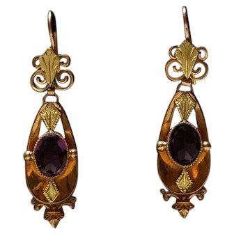 Antique Victorian 18k Gold Filled Earrings