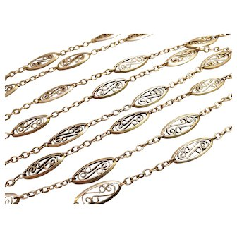 Antique Silver Long Guard Chain Necklace French 50,39 inches