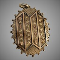 Victorian English Silver & Gold Locket Pendant
