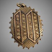 Victorian English Silver & Gold Locket Pendant