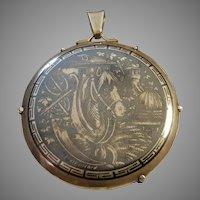 Antique Russian Silver Niello Pendant