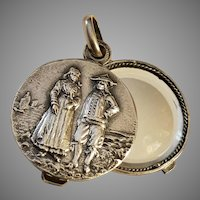 Antique French Silver Plated Sliding Mirror Pendant