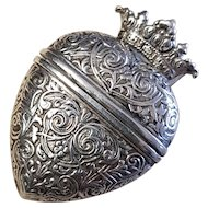Georgian Danish Silver Crowned Heart Locket Pendant Vinaigrette Hovedvansaeg