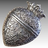 Georgian Danish Silver Crowned Heart Locket Pendant Vinaigrette Hovedvansaeg