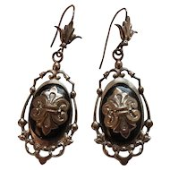 Victorian Silver Tone & Black Lacquer Dangling Earrings Fleur de Lis