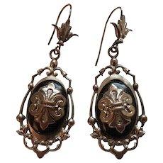 Victorian Silver Tone & Black Lacquer Dangling Earrings Fleur de Lis