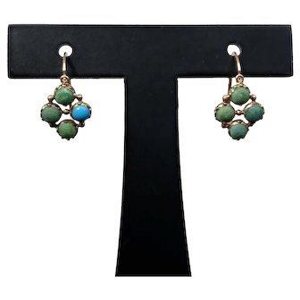 Antique Georgian 18k Gold Turquoise Earrings French